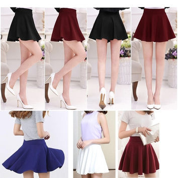 Women's Basic Stretch Waist Flared Pleated Mini Skirt Skater = 1947047300