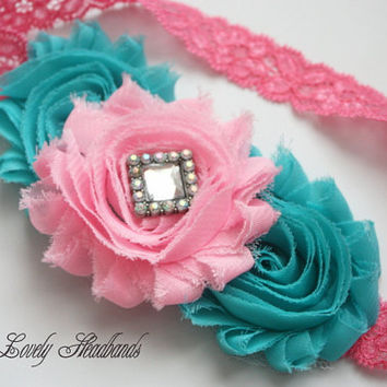 Aqua Pink Headband, Shabby Chic Roses, Headband, Baby Headband, Girl Hair Bow, Flower Headband, Toddler Photo Prop