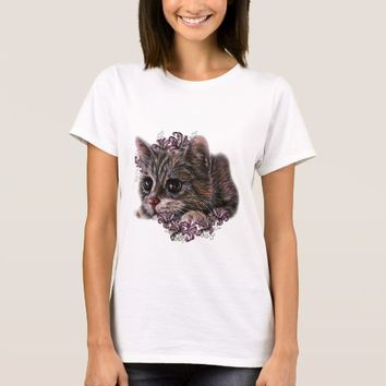 Drawing of Gray Kitten as Cat with Lilies T-Shirt
