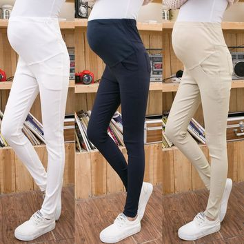 New Thin Maternity Pants Solid Elastic Leggings Abdominal support