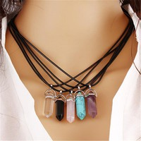 2017 Fashion Natural Stone Opal Necklaces & Pendants Silver Plated Leather Chain Statement Necklace For Women Christmas Gifts