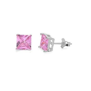 4mm Sterling Silver Princess Cut CZ Stud Earrings - Pink