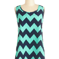 ModCloth Mid-length Sleeveless Installation Art Exhibit Tank in Aqua Zigzag