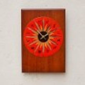 Red Sunburst Enameled Copper on Walnut Wall Clock