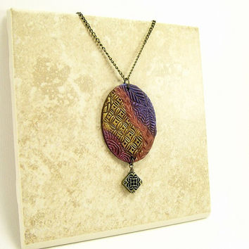 Multicolored Polymer Clay Jewelry Pendant Necklace / Abstract Art