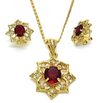 Gold Layered 10.160.0033.1 Necklace and Earring, Flower Design, with White Crystal and Garnet Cubic Zirconia, Polished Finish, Golden Tone