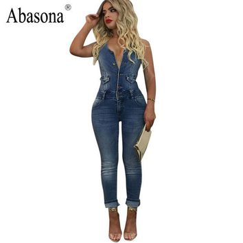 DCCKL3Z Abasona High quality women jumpsuit sexy halter backless Bodycon denim jumpsuit button skinny casual Blue jeans overalls romper