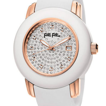 Folli Follie Ladies Urban Spin Crystal Pave And Rose Gold Watch