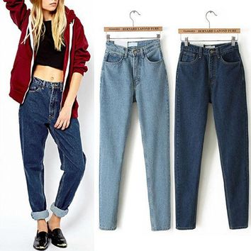 CREYET7 American Apparel AA Street Fashion Lady Retro High Waist Denim Jeans Harem Pants Trousers Legging 2016 New Listing 2 Colors