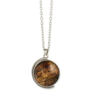 Vintage Spinning Globe Pendant Long Necklace
