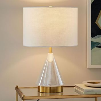 Metalized Glass Table Lamp + USB - Small (Pearl)