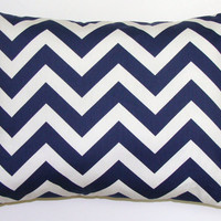 Navy Blue Pillow.Chevron.12x16 or 12x18 inch Decorator Lumbar Pillow Cover.Printed Fabric Front and Back