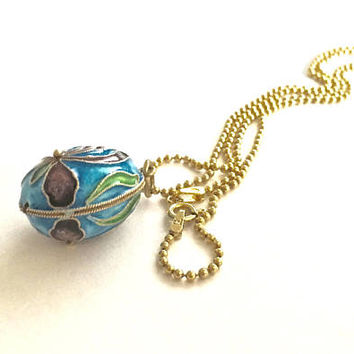 "Vintage Sterling Silver Cloisonné Egg Pendant with Iris Flower Design and 18"" Gold Washed Sterling Ball Chain, Art Nouveau Orchid Pendant"