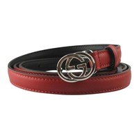 GUCCI Women's GG Red Skinny Leather Belt 370552 Size: 36 NWT