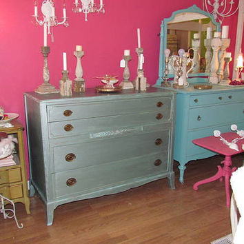 vintage mahogany dresser metallic blue by VintageChicFurniture