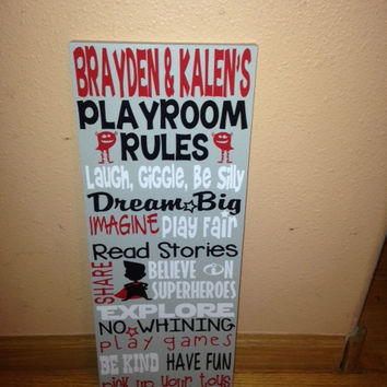 Personalized Wooden Playroom Rules Sign 8x20""