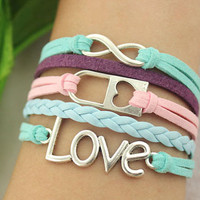 love infinity bracelet--lock pendant,antique silver charm bracelet,pink&blue leather,love jewelry
