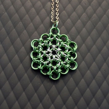 Green Flower of Life Japanese Chainmaille Pendant with Hidden Seed of Life, Sacred Geometry, Spring Jewelry, Yoga, Meditation