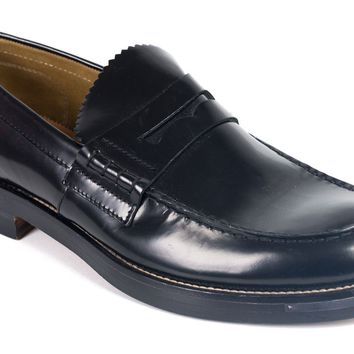 Valentino Garavani Mens Black Pinked-Edge Penny Loafers