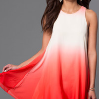 Ombre Sleeveless Short Shift Dress