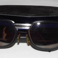 Vintage 70s Black and Brushed Steel Japan Sunglasses and Case