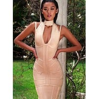 Akilah Deep V Bandage Dress in Nude& Black& White colors BQH2342