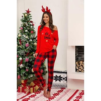 New Christmas Women's Red Plaid  Let It Snow Two Piece Pajamas