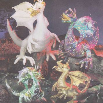 Simplicity Sewing Pattern 4063 Mystical Magical Dragon Toy Stuffed Plush Animal Doll Eragon Creature Monster Fantasy Uncut