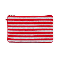 Striped Red White Seed Bead Clutch