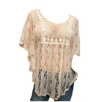 eVogues Apparel- -Jr Plus Size Crochet Poncho Top Ivory-Clothing-Women's Plus-Tops