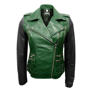 Best Green Leather Jacket Women Products on Wanelo