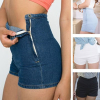 Slim High Waist Jean Shorts