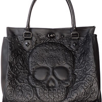 Frightful Filigree Skull Tote Bag