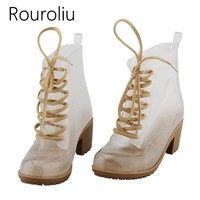 New Fashion Women High Heels Transparent PVC Rain Boots Lace-up Clear Rainboots Water