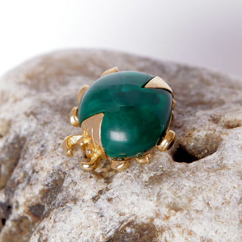 Vintage Green and Gold Scarab Beetle Brooch, Insect Jewelry, Bug Pin for Bug Collection