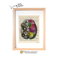 Left right brain dictionary print-human brain art print-Anatomy art print-brain on book page-anatomical Dictionary art-by NATURA PICTA