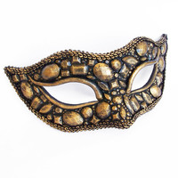 Antique Black And Gold Masquerade Mask - Metallic Venetian Mask Embellished In Brass Texture