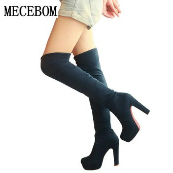 2017 New Women Suede Sexy Fashion Over the Knee Boots Sexy Thin High Heel Boots Platform Woman Shoes Black Blue size 34-43 M2W