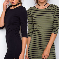 Sandy Basic Dress Set - Black & Olive Striped