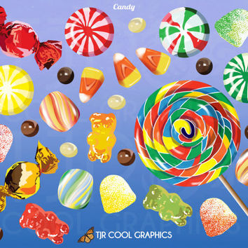 Candy Digital, Realistic Clip Art, Commercial, PNG, Printable, Lollipop, Mint, Gummi Bear, Chocolate, Candy Corn