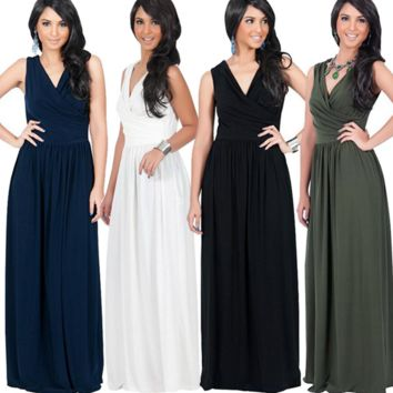 V-Neck Maxi Chiffon Dress B0016450