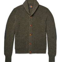 The Workers Club - Shawl-Collar Mélange Merino Wool Cardigan