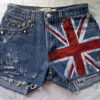 STUDDED Hand Painted Union Jack British Flag Jean by bohemianrag