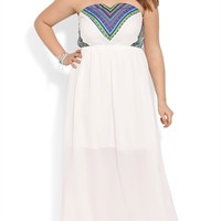 Plus Size Strapless Maxi Dress with Embroidered Bodice