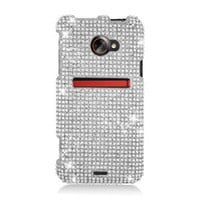 Eagle Cell PDHTCEVOONEF377 RingBling Brilliant Diamond Case for HTC EVO 4G LTE/EVO One - Retail Packaging - Silver
