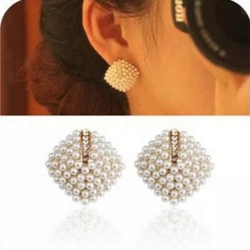 Beautiful Rhinestone Square Pearl Stud Earrings for Women