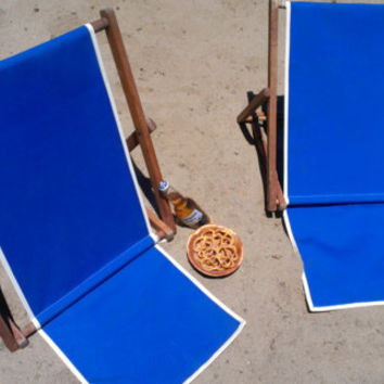 Vintage beach chair with redone outdoor indoor umbrella fabric