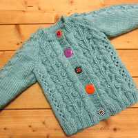 Baby Cardigan Baby Sweater Hand Knitted Cable Cardigan 3-6 months Baby Girl,Gift Idea,Ready to Ship