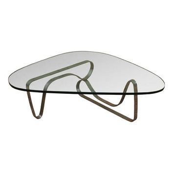 Pre-owned Noguchi Style Chrome & Glass Coffee Table