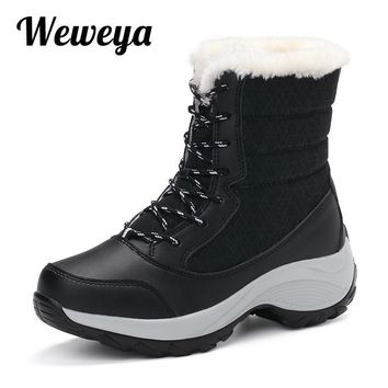 Weweya Big Size Shoes Women Boots Soft Women Snow Boots Sneakers Boots Winter Fur Mid-Calf Platform Female Boots Botas Mujer